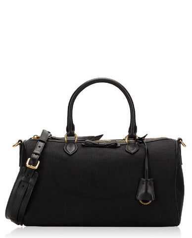 Prada Bauletto Black Jacquard Canvas Leather Satchel Crossbody Bag 1BB676 at_Queen_Bee_of_Beverly_Hills
