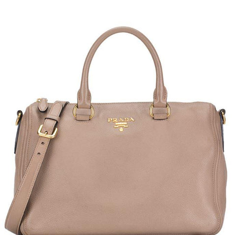 Prada Bauletto Vitello Leather Cammeo Beige Phenix Handbag 1BB023 at_Queen_Bee_of_Beverly_Hills