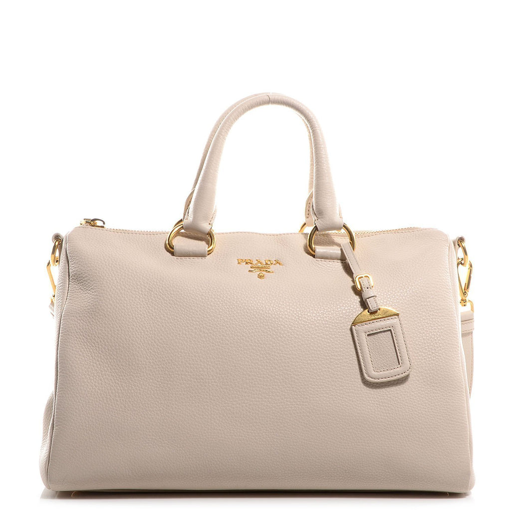 Prada Bauletto Women's White Talco Vitello Phenix Handbag Shoulderbag 1BB023 at_Queen_Bee_of_Beverly_Hills