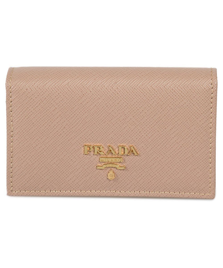 Prada Beige Saffiano Leather Credit Card Holder 1MC122 at_Queen_Bee_of_Beverly_Hills