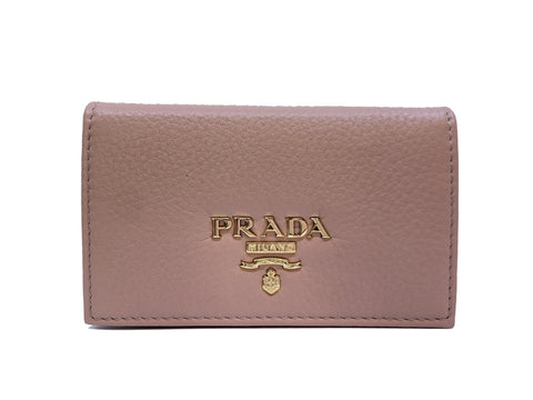 Prada Beige Vitello Grain Leather Credit Card Holder Small Wallet 1MC122 at_Queen_Bee_of_Beverly_Hills