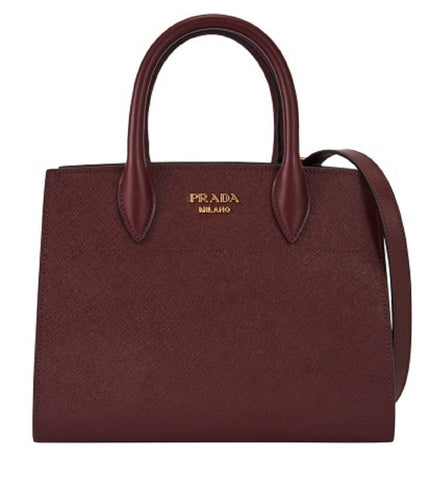 Prada Bibliothèque Tote Saffiano City Leather Maroon and Gray Handbag 1BA049 at_Queen_Bee_of_Beverly_Hills