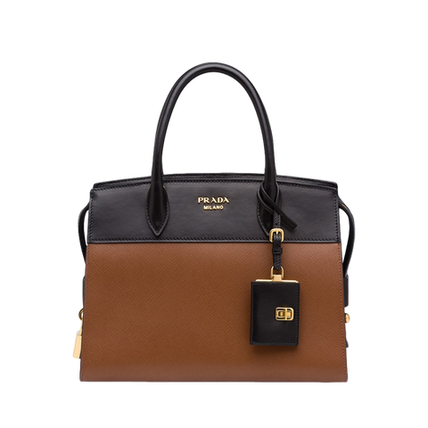 Prada Black and Brown Two-Toned Saffiano Leather Esplanade Medium City Satchel 1BA047 at_Queen_Bee_of_Beverly_Hills