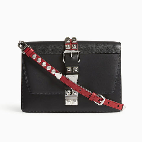 Prada Black and Fuoco Red City Calfskin and Saffiano Leather Silver Stud Crossbody 1BD120 at_Queen_Bee_of_Beverly_Hills