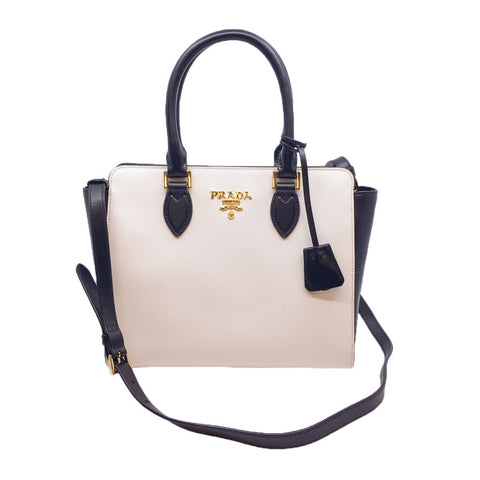 Prada Black and White Saffiano Leather Satchel Crossbody Handbag 1BA113 at_Queen_Bee_of_Beverly_Hills