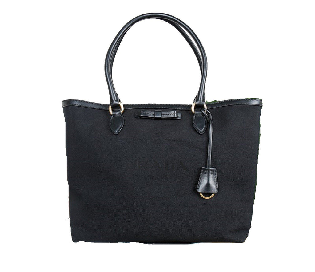 Prada Black Fabric Canvas Jacquard Logo Calf Leather Trim Shopping Tote 1BG158 at_Queen_Bee_of_Beverly_Hills