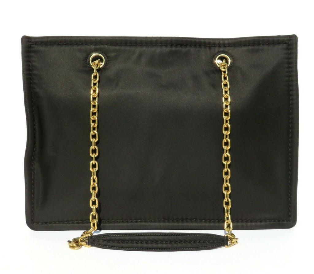 Prada Black Nylon Gold Chain Convertible Crossbody Shoulder Shopping Tote at_Queen_Bee_of_Beverly_Hills