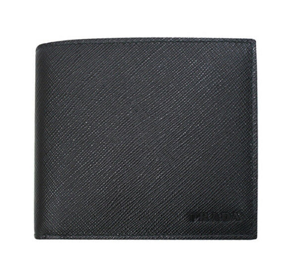 Prada Black Saffiano 1 Leather Billfold Bi-fold Credit Card Wallet 2MO513 at_Queen_Bee_of_Beverly_Hills
