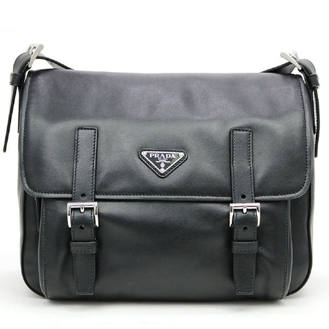 Prada Black Soft Calf Leather Pattina Shoulder Bag Satchel Silver Hardware BT953L at_Queen_Bee_of_Beverly_Hills