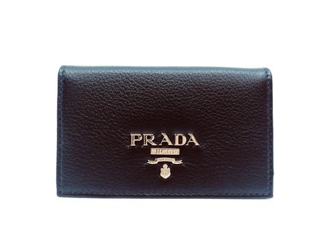 Prada Black Vitello Grain Soft Calf Leather Credit Card Case Wallet 1MC122 at_Queen_Bee_of_Beverly_Hills