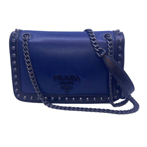 Prada Blue Black Glace Leather Studded Trim Crossbody Handbag 1BD147 at_Queen_Bee_of_Beverly_Hills