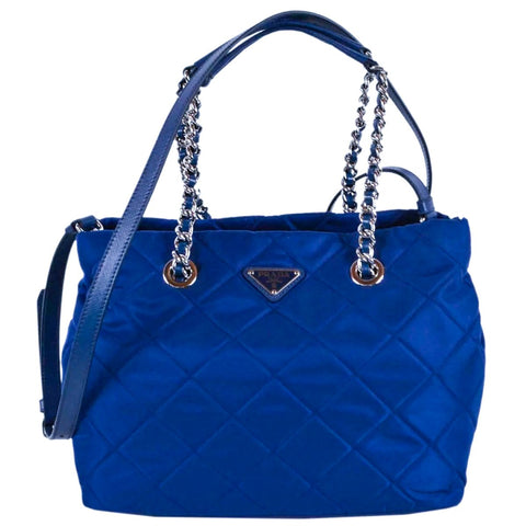 Prada Bluette Blue Quilted Tessuto Nylon Chain Strap Shoulder Bag Tote 1BG740 at_Queen_Bee_of_Beverly_Hills