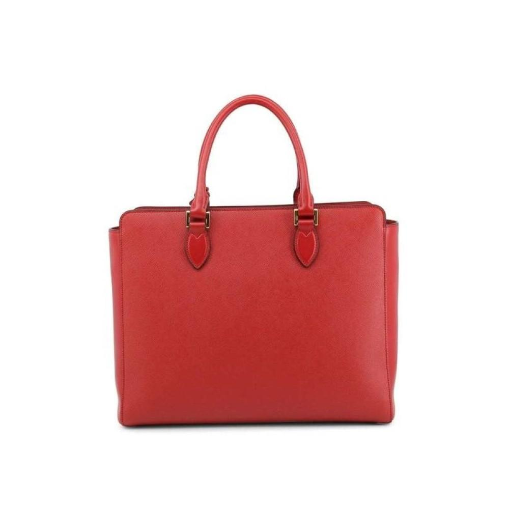Prada Borsa A Mano Fuoco Red Saffiano and Soft Calf Leather Convertible Handbag 1BA229 at_Queen_Bee_of_Beverly_Hills