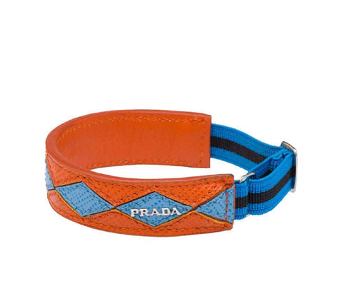 Prada Bracciali Papaya Mare Saffiano Intars Elastic Strap Bracelet 1IB136 at_Queen_Bee_of_Beverly_Hills