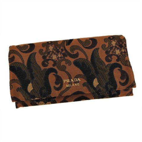 Prada Broccato Brown Black Embroidered Fabric Leather Wallet Clutch Bag 1MS001 at_Queen_Bee_of_Beverly_Hills