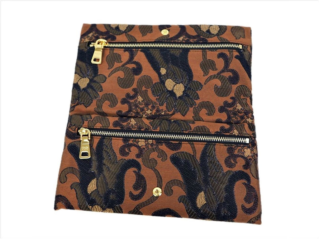 Prada Broccato Brown Black Embroidered Fabric Wallet Clutch Bag 1MS001 at_Queen_Bee_of_Beverly_Hills