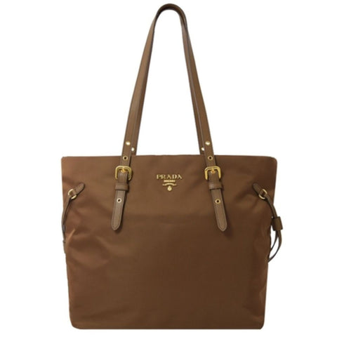 Prada Brown Tessuto Nylon Saffiano Leather Shopping Tote 1BG292 at_Queen_Bee_of_Beverly_Hills