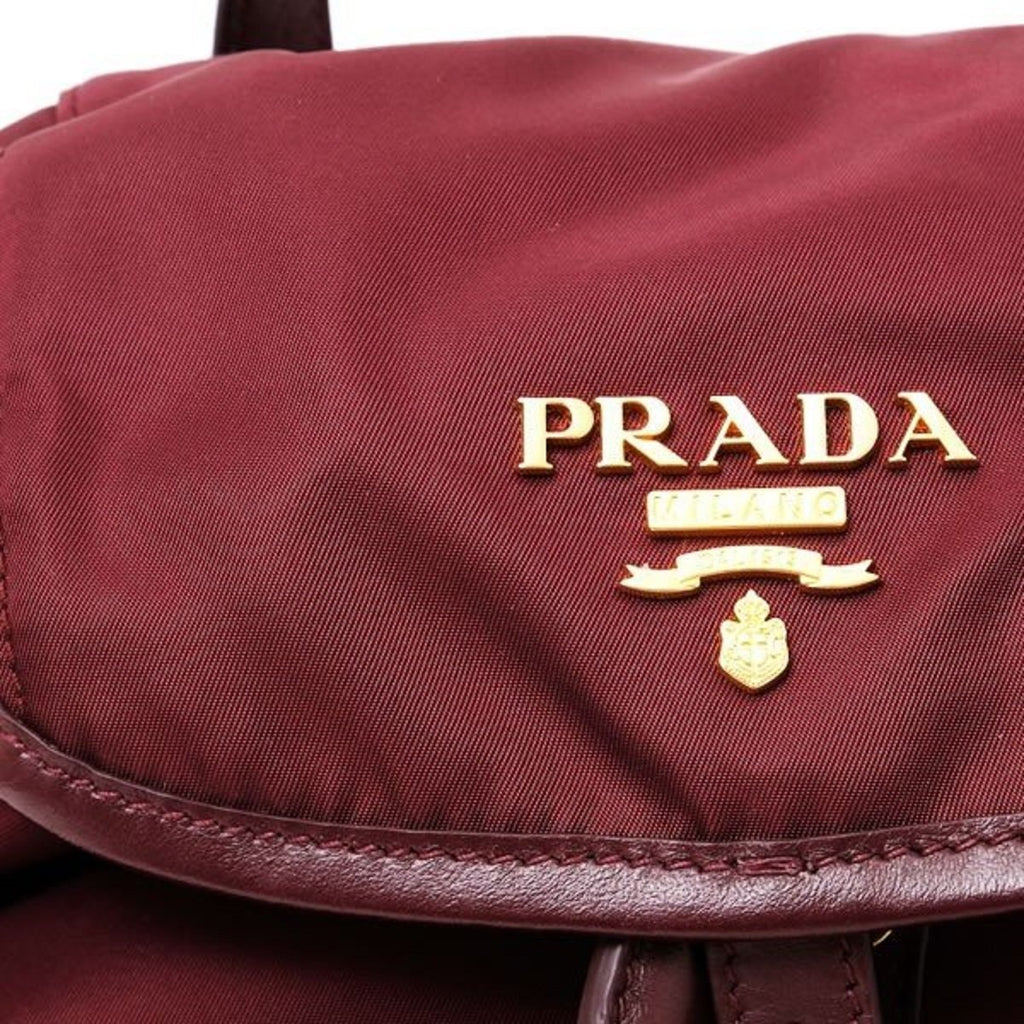 Prada Burgundy Tessuto Nylon Calf Gold Leather Backpack 1BZ677 at_Queen_Bee_of_Beverly_Hills