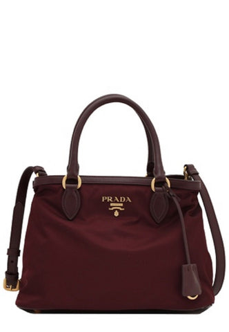 Prada Burgundy Tessuto Nylon Small Leather Strap Satchel Crossbody Handbag 1BA173 at_Queen_Bee_of_Beverly_Hills