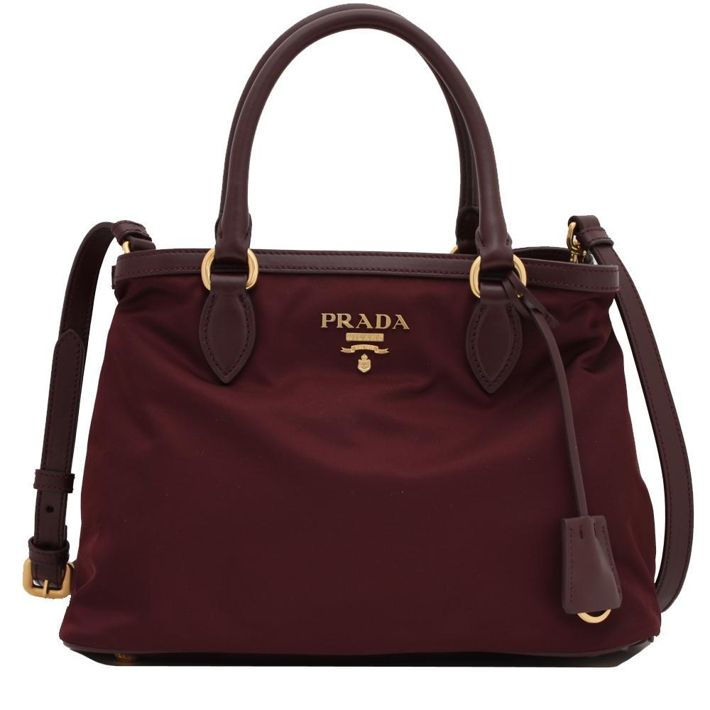 Prada Burgundy Tessuto Nylon Small Leather Trim Satchel Cross Body Handbag 1BA172 at_Queen_Bee_of_Beverly_Hills