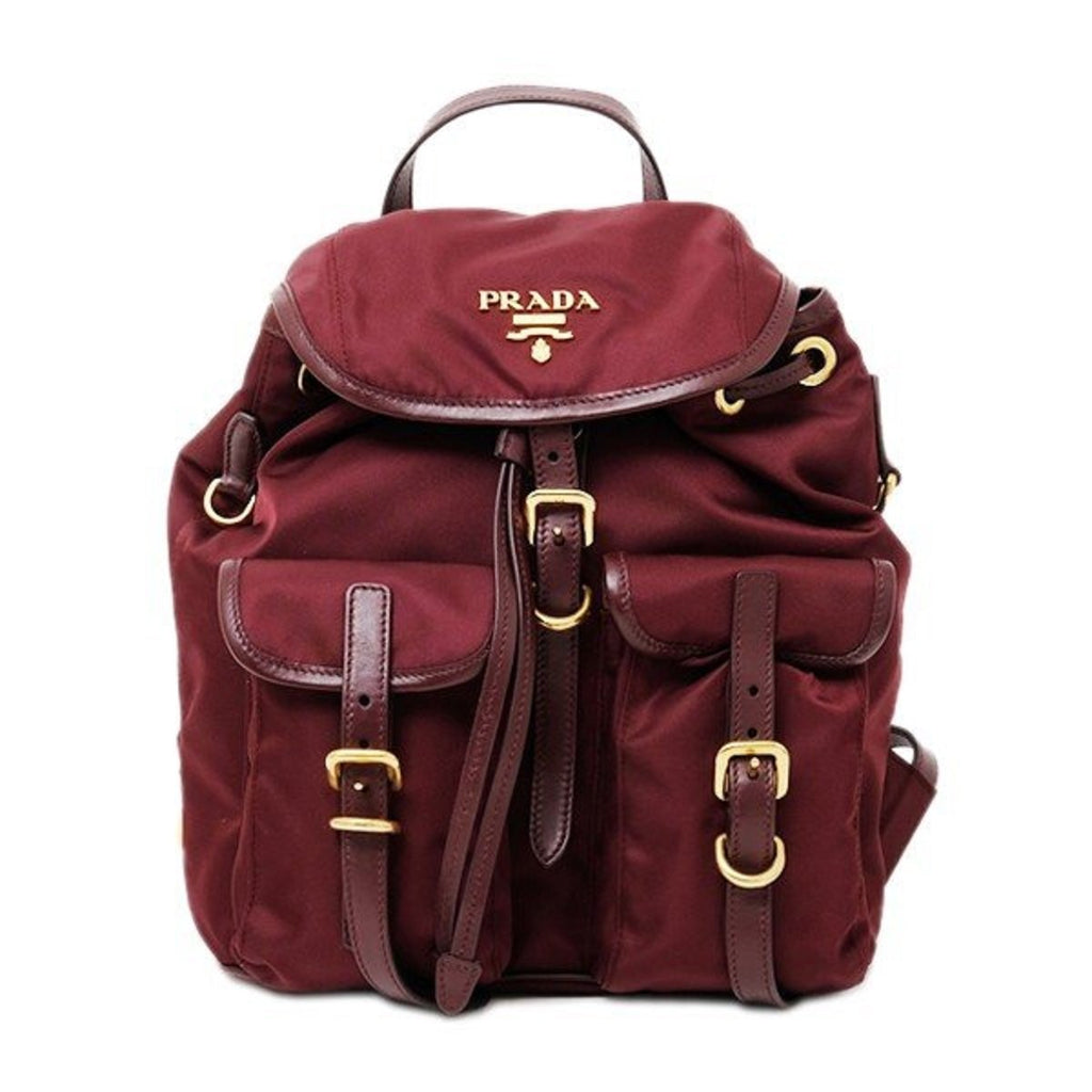 Prada Burgundy Tessuto Nylon Soft Calf Gold Leather Backpack at_Queen_Bee_of_Beverly_Hills