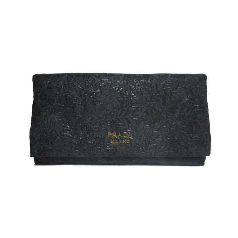Prada Busta Morbida Black Embroidered Floral Fabric Long Wallet Clutch 1MS002 at_Queen_Bee_of_Beverly_Hills