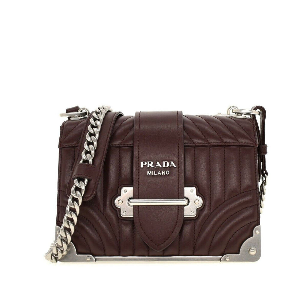 Prada Cahier Burgundy Quilted Calfskin Silver Chain Crossbody 1BD045 at_Queen_Bee_of_Beverly_Hills