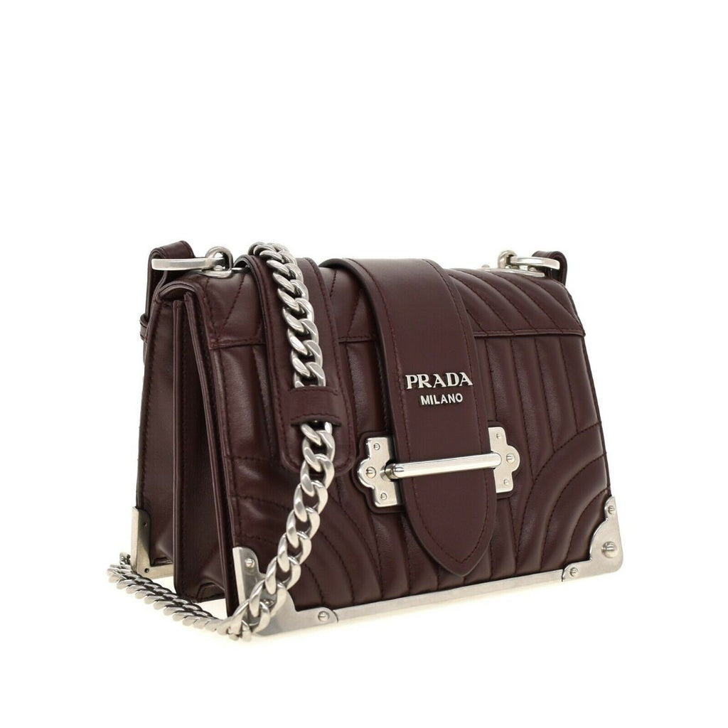 Prada Cahier Granato Burgundy Quilted Calfskin Silver Chain Crossbody 1BD045 at_Queen_Bee_of_Beverly_Hills