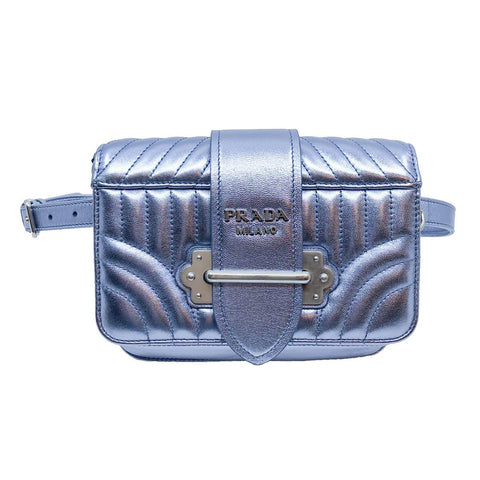 Prada Cahier Leather Belt Bag Fanny Pack Bag Crossbody Metallic Silver 1BL004 at_Queen_Bee_of_Beverly_Hills