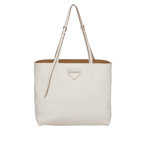 Prada Calfskin Leather Tote Vitello Daino Talco White Shopping Tote Bag 1BG205 at_Queen_Bee_of_Beverly_Hills