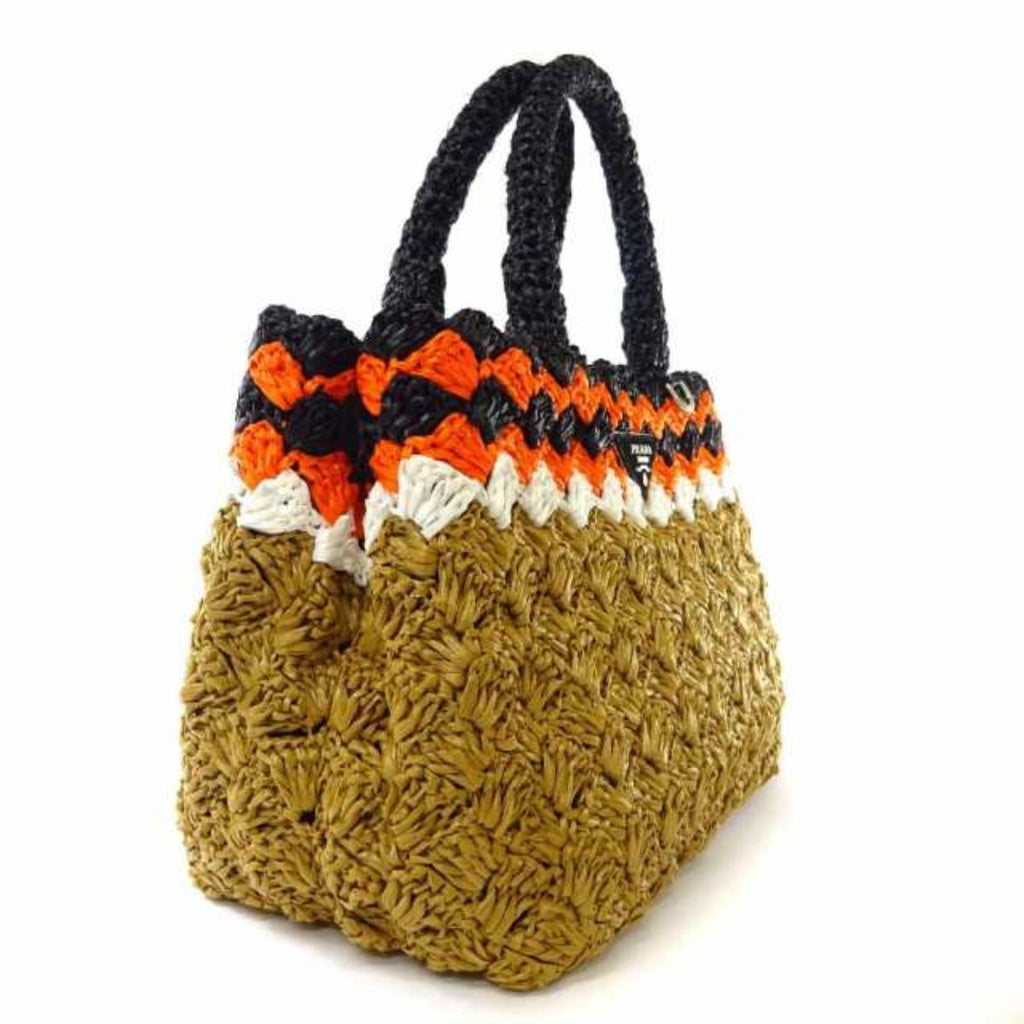 Prada Caramel and Papaya Rafia Crochet Shopping Bag 1BG889 at_Queen_Bee_of_Beverly_Hills