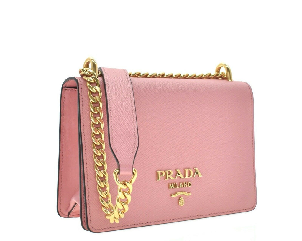 Prada Chain Crossbody Bag Pink Saffiano Leather 1BD133 at_Queen_Bee_of_Beverly_Hills