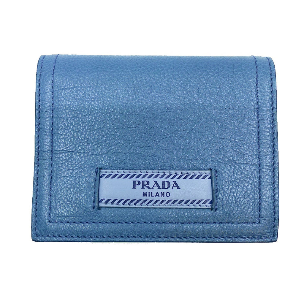 Prada City Glace Blue Cobalt Leather Bifold Snap Wallet 1MV204 at_Queen_Bee_of_Beverly_Hills