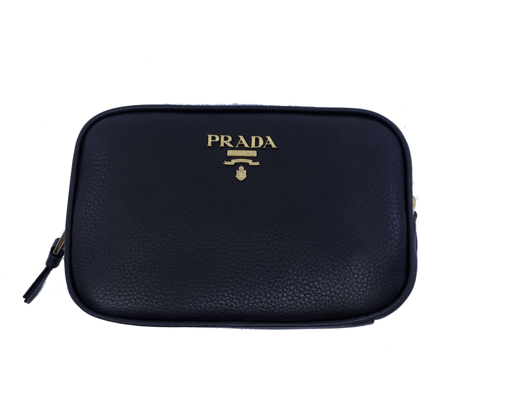 Prada Contenitore Teak Brown Vitello Daino Vanity Cosmetic Case 1ND007 at_Queen_Bee_of_Beverly_Hills
