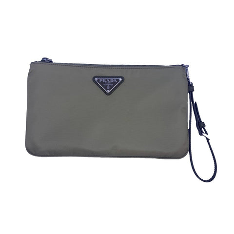Prada Corda Light Green Tessuto Nylon Pouch Wristlet Clutch Silver Prada Logo 1NH545 at_Queen_Bee_of_Beverly_Hills