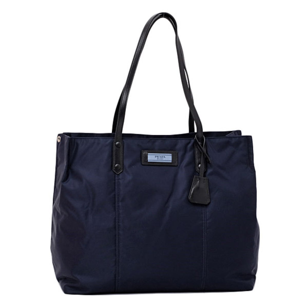 Prada Dark Blue Navy Nylon Black Leather Strap Shoulder Shopping Tote at_Queen_Bee_of_Beverly_Hills