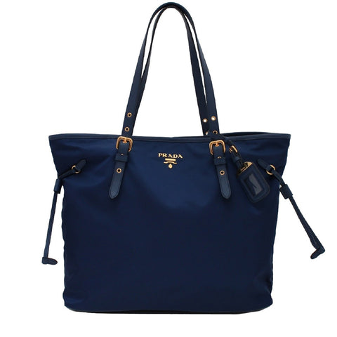 Prada Dark Blue Tessuto Nylon Saffiano Leather Trim Shopping Tote 1BG997 at_Queen_Bee_of_Beverly_Hills