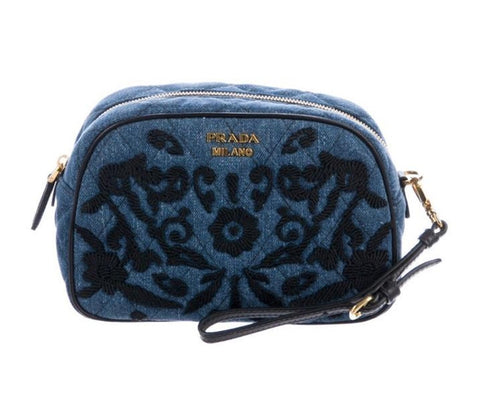 Prada Denim Embroidered Small Handbag Gold Logo 1NE008 at_Queen_Bee_of_Beverly_Hills