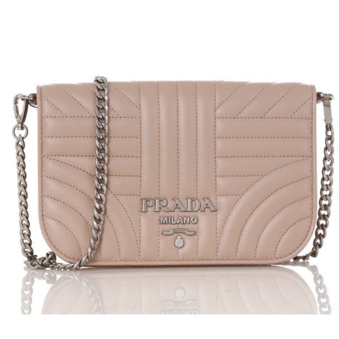 Prada Diagramme Cipria Beige Quilted Silver Chain Crossbody 1BP013 at_Queen_Bee_of_Beverly_Hills
