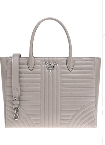Prada Diagramme Pomice Beige Quilted Calfskin Convertible Tote 1BA195 at_Queen_Bee_of_Beverly_Hills