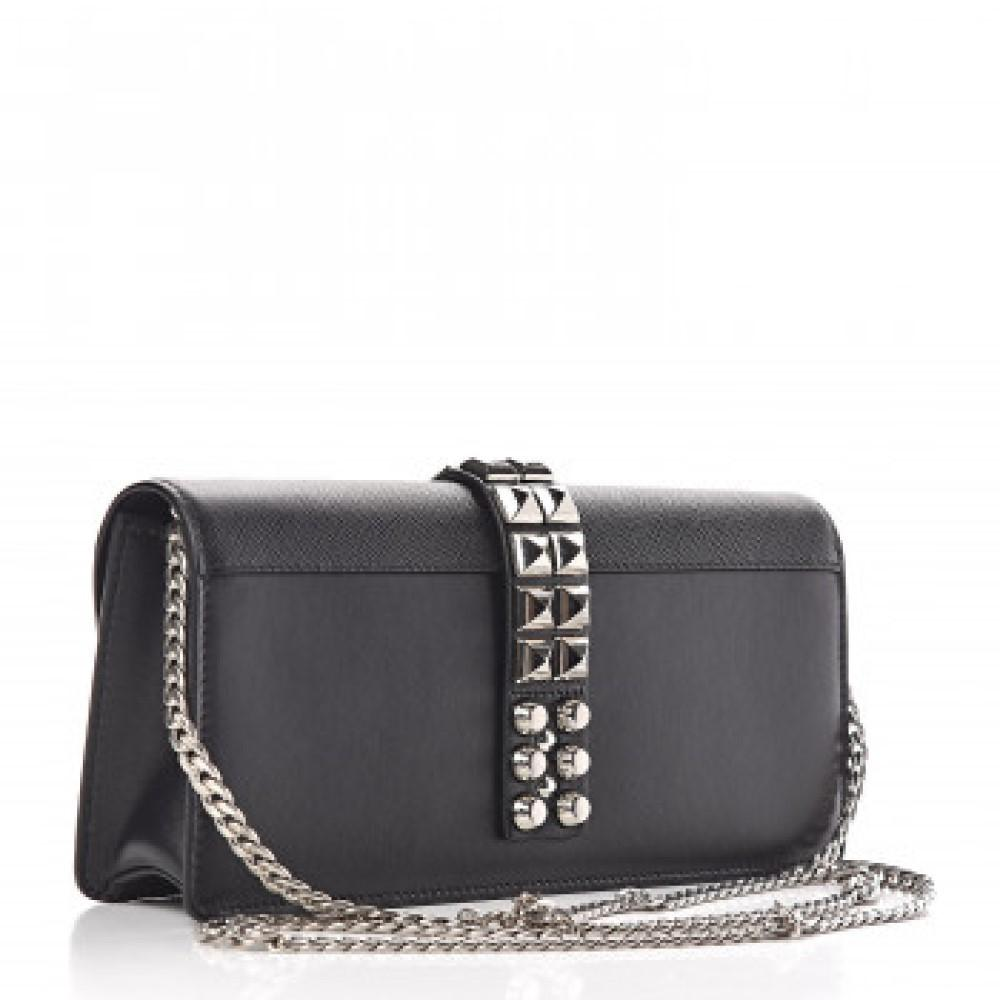 Prada Elektra Black Saffiano Calfskin Leather Studded Crossbody Clutch 1BF084 at_Queen_Bee_of_Beverly_Hills