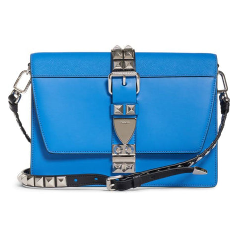 Prada Elektra Blue and Black City Calfskin and Saffiano Leather Silver Stud Convertible Handbag 1BD120 at_Queen_Bee_of_Beverly_Hills