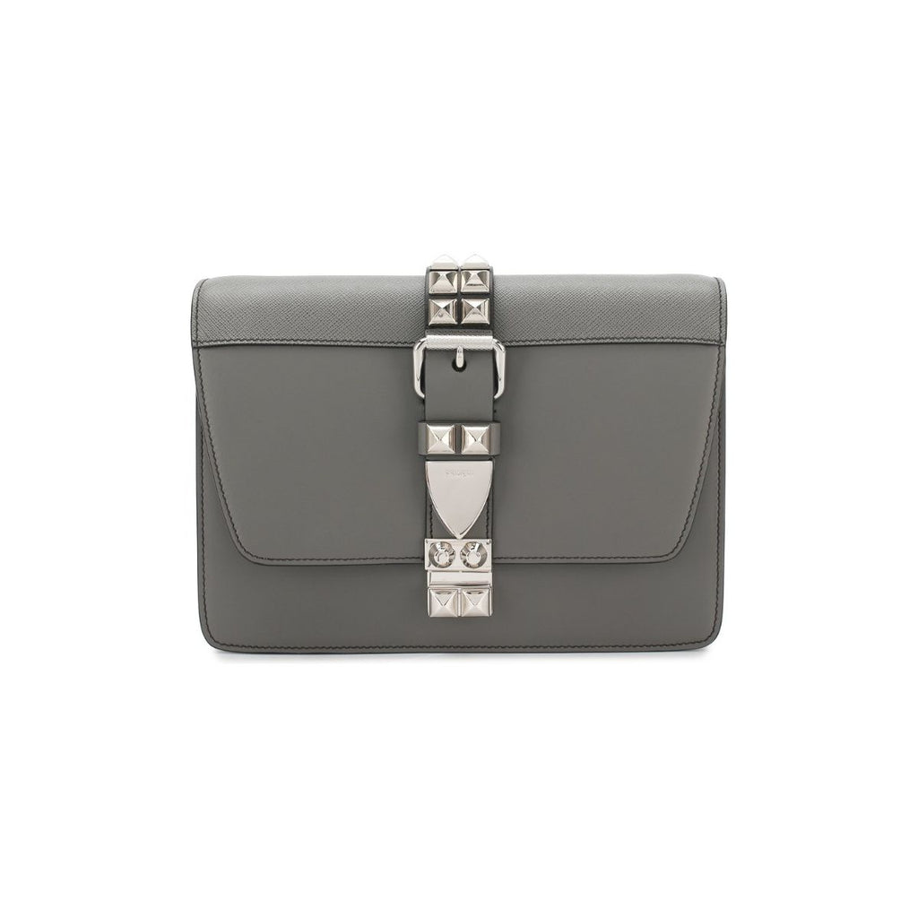 Prada Elektra Gray Calfskin Saffiano Leather Studded Crossbody 1BD120 at_Queen_Bee_of_Beverly_Hills