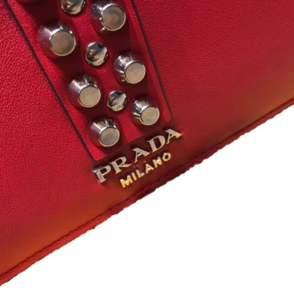 Prada Elektra Red Calfskin Saffiano Leather Studded Crossbody Bag 1BA179 at_Queen_Bee_of_Beverly_Hills