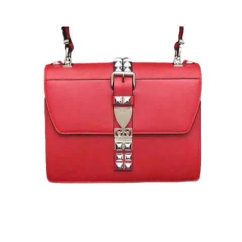 Prada Elektra Red City Calfskin and Saffiano Leather Silver Stud Convertible Handbag 1BA179 at_Queen_Bee_of_Beverly_Hills