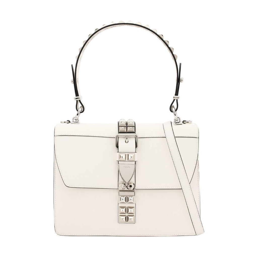 Prada Elektra White and Black City Calfskin and Saffiano Leather Silver Stud Convertible Handbag 1BA179 at_Queen_Bee_of_Beverly_Hills