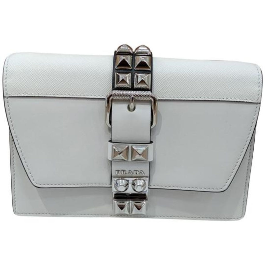 Prada Elektra White Black City Calfskin and Saffiano Leather Silver Stud Crossbody 1BD120 at_Queen_Bee_of_Beverly_Hills