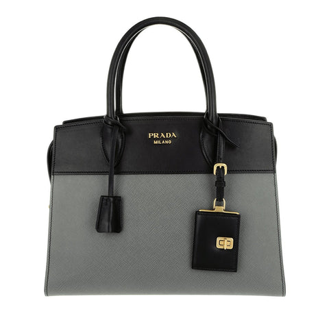 Prada Esplanade City Black Grey Two-Toned Saffiano Leather Satchel Small 1BA046 at_Queen_Bee_of_Beverly_Hills