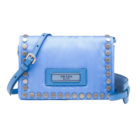 Prada Etiquette Baby Blue Studded Mini Tessuto Nylon Crossbody Bag 1BP006 at_Queen_Bee_of_Beverly_Hills