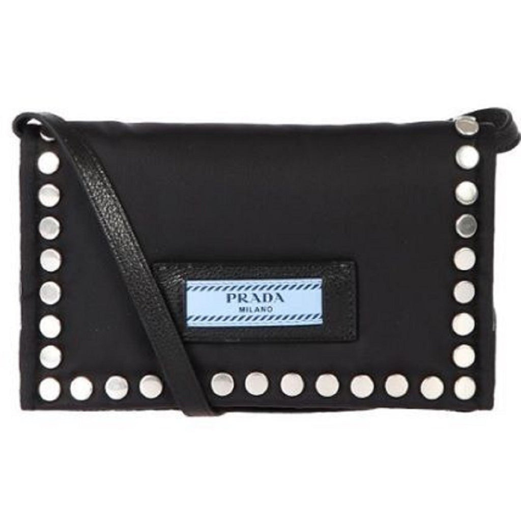 Prada Etiquette Bag Black Tessuto Nylon Cross Body w Silver Studs 1BP006 at_Queen_Bee_of_Beverly_Hills